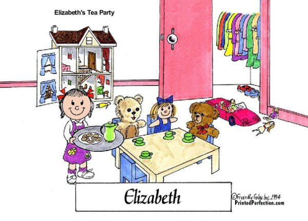 Tea Party Little Girl Friendly Folks Printed Perfection Personalized Gifts