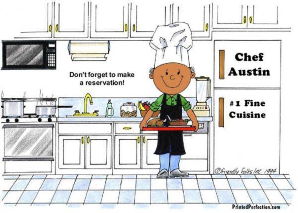 042-FF Chef, with Hat, Male - Dark Skin
