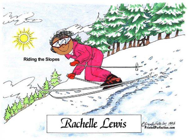 055-FF Skier, Snow, Female - Dark Skin