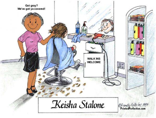 057-FF Hairdresser, Female - Dark Skin