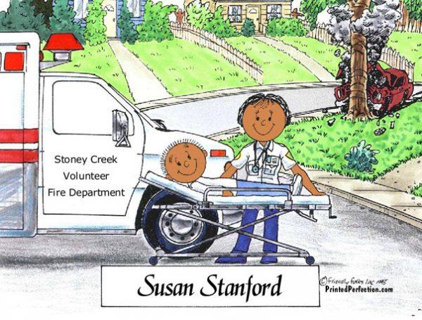 079-FF EMT, Paramedic, Ambulance, Female - Dark Skin
