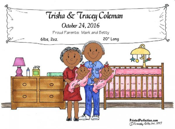 147-FF New Baby, Twins, Girls - Dark Skin