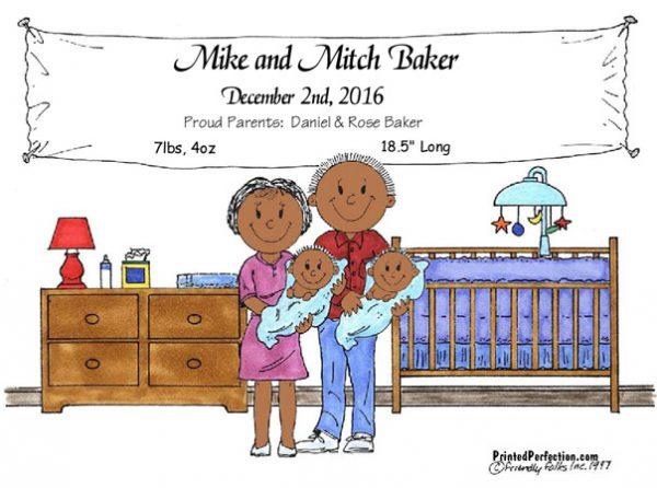148-FF New Baby, Twins, Boys - Dark Skin