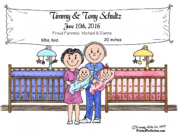 149-FF New Baby, Twins, Girl & Boy