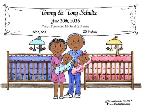 149-FF New Baby, Twins, Girl & Boy - Dark Skin