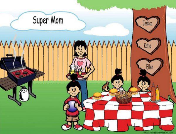 210ab-NTT Family Backyard Barbeque Single Mom 3 girls