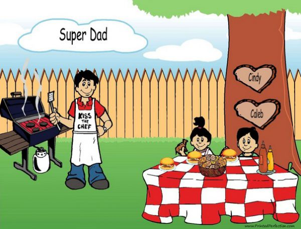 210j-NTT Family Backyard Barbeque Single Dad 1 boy, 1 girl