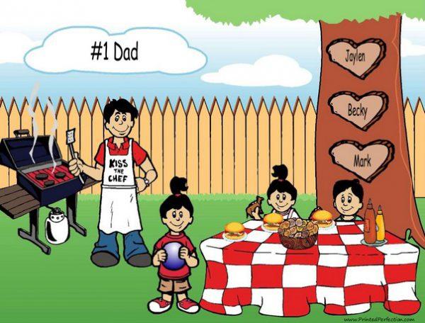 210k-NTT Family Backyard Barbeque Single Dad 1 boy 2 girls