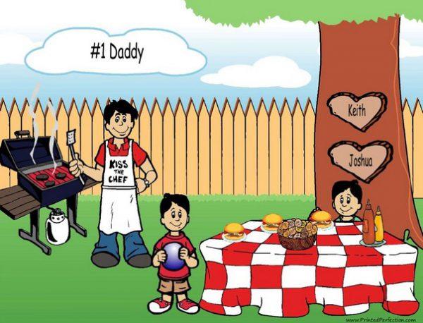 210p-NTT Family Backyard Barbeque Single Dad 2 boys