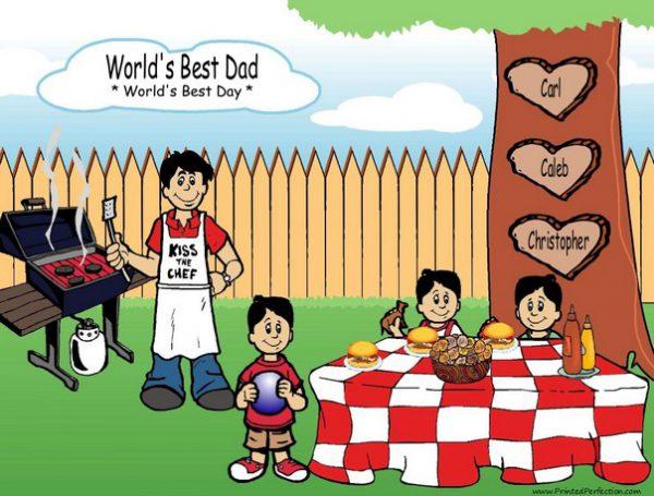 210r-NTT Family Backyard Barbeque Single Dad 3 boys