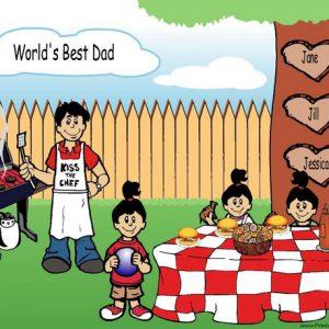 210s-NTT Family Backyard Barbeque Single Dad 3 girls