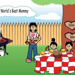 210t-NTT Family Backyard Barbeque Single Mom 1 boy, 1 girl