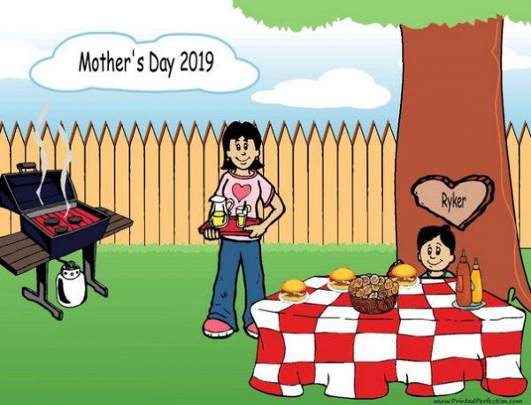 210v-NTT Family Backyard Barbeque Single Mom 1 boy