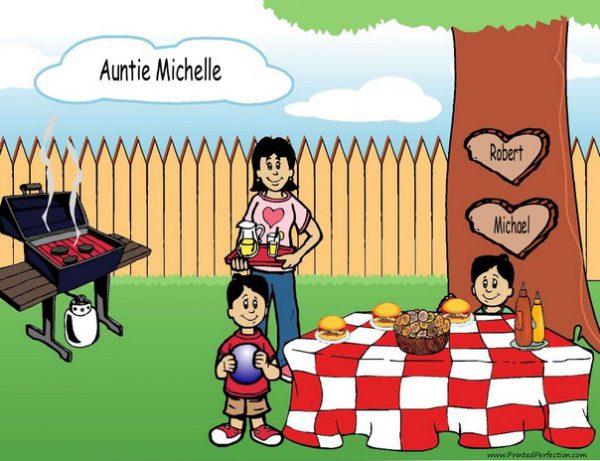 210y-NTT Family Backyard Barbeque Single Mom 2 boys