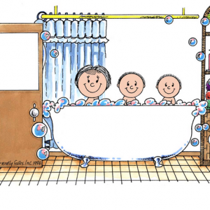 217-FF Tub Time, Two Children with Mom