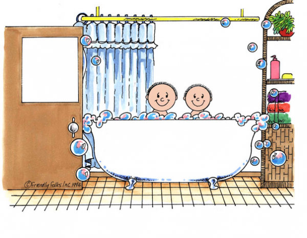 219-FF Tub Time, Two Children