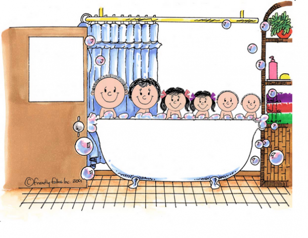 405-FF Tub Time, Two Girls, Two Boys