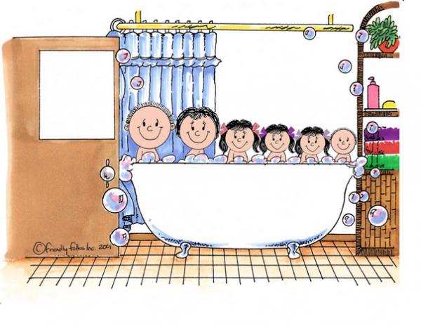 406-FF Tub Time, Three Girls, One Boy