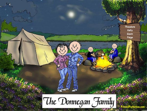 411-FF Camping Couple, Two Children