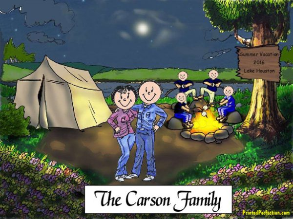 413-FF Camping Couple, Four Children