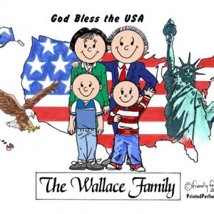 435-FF Patriotic Couple, Two Boys