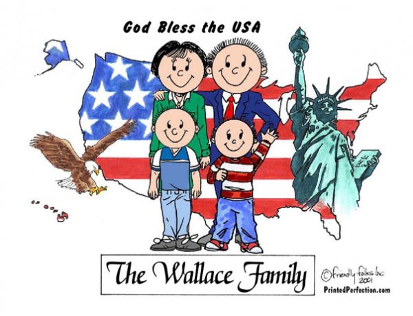 435-FF Patriotic Couple, Two Boys
