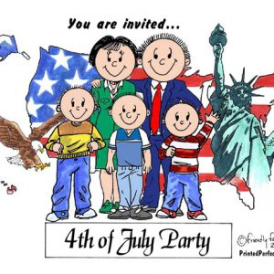 436-FF Patriotic Couple, Three Boys