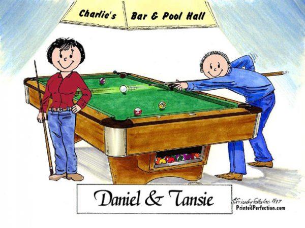 475-FF Billiards, Pool Player Couple