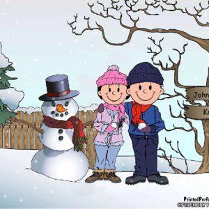 498-FF Snowman Family, Couple