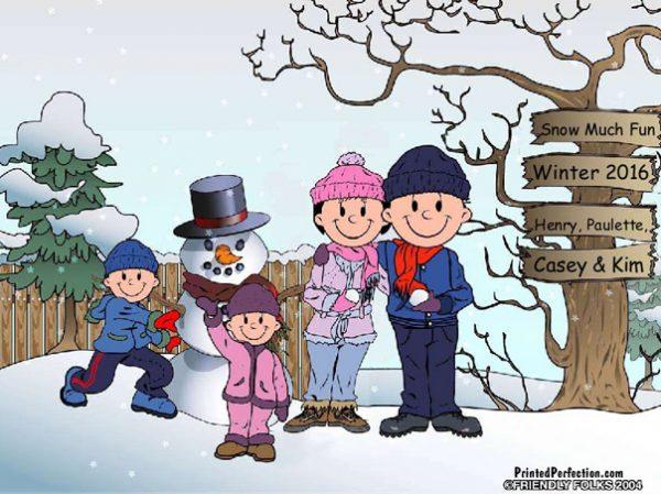 501-FF Snowman Family, 1 Boy, 1 Girl
