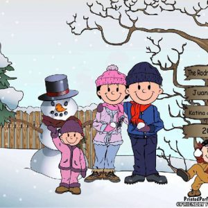 505-FF Snowman Family, 2 Girls