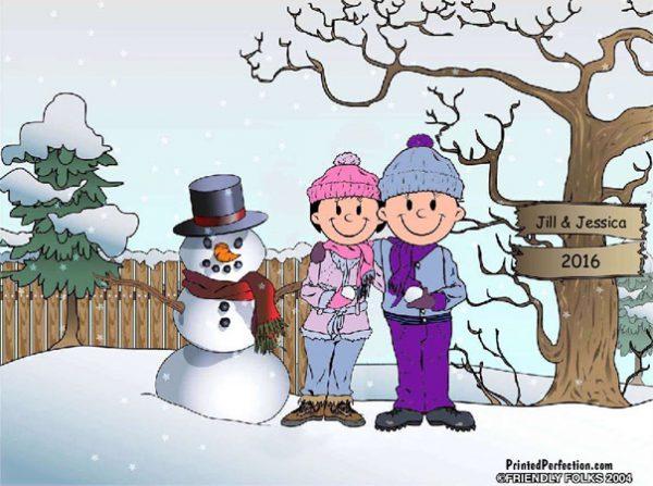 509-FF Snowman Family, Female & Female