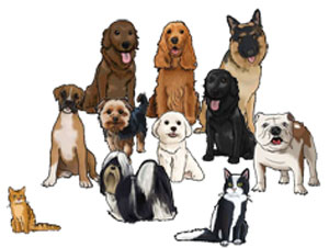 Pets can be added to your caricature scene!